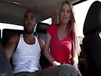 Brunette pornstar courtney cummz stroking in the car