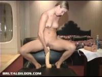 The blonde is prepared for the monster dildo