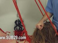 BDSM hardcore action with ropes and shocking sex