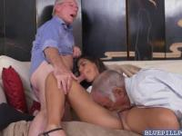 Threesome fuck with Latina babe Victoria Valencia