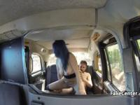 Horny couple fucking in cab