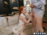 Redhead teen princess Dolly Little swallows old man's dick