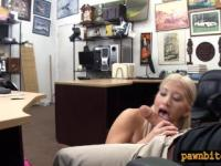 Busty blonde woman gets her pussy railed by pawn guy