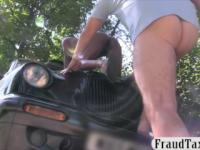 Nasty ebony babe gives head and screwed by fake driver