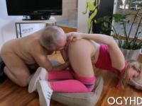 delicious young gal enjoys old hard rod entering her pussy