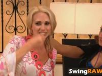 Swinger wife Sabrina sucks strapon dildo in front of husband Anthony