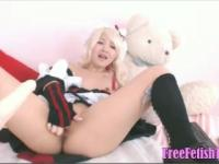 Blonde Asian Cosplay and Solofuck -