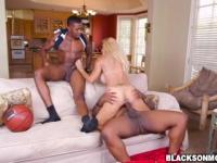 Blonde Brooke Tyler pounded by basketball studs