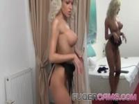 Sexy blonde naked dance for all