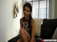 Gina Valentina giving payback blowjob against her boyfriend