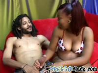 Pregnant amateur black girl riding long dong