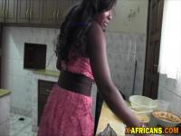 Amazing African babe gets fucked after making breakfast