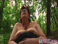 Bbw fat redhead granny sucking cock fuck in the woods
