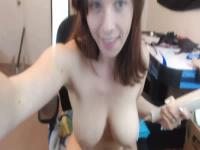 Busty brunette masturbating solo