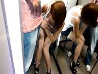 Public changing room blow job