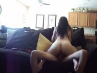 Horny Teen Rides Her BF On The Sofa