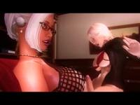 Busty blonde fucks a cartoon transsexual