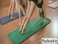 Big tits trainer and two brunettes yoga
