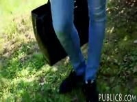 Eurobabe fucked in the woods for money