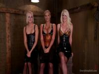 Three horny blondes share some anal masturbation