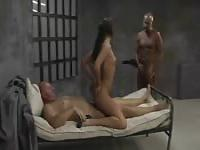 Jailed MILF doesn't mind a hard threesome