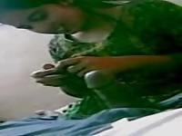 Indian wife plays with hubbie's dick