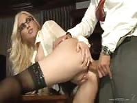 Blonde with big tits and glasses loves some dick in the ass at the office