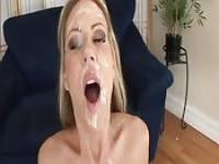 Cock sucking sluts get one facial after another