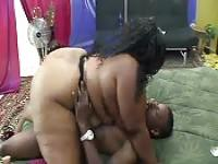 Chubby ebony woman gets her fat ass fucked