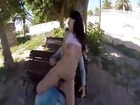 Discarding white panties for a public blow and an outdoor fuck