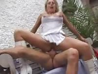 Horny blonde babe seduces and fucks neighbor