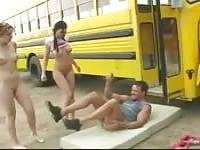 School bus driver and two teachers sex romp