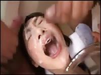 Asian maid loves loads of cum in her face