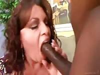 Voracious busty MILF goes after his big black dick