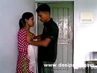 Young Indian letting him play with her tits outside