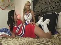 Two teen cheerleaders like licking the pussy lips