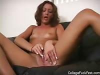 Pick up a sexy brunette who is down to masturbate for everyone