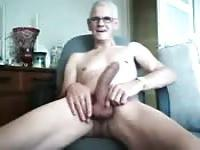 Grampa shows big dick on cam