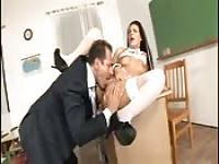 Older tutor bones his sexy charge in his office