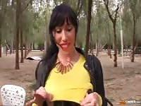Suhaila Hard sucks two cocks in a public park