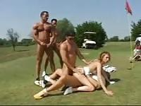 Outdoor gang fuck on golf course
