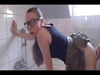 Teen schoolgirl gets anal sex in the bathroom and loves it