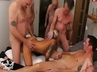 Four guys splendidly bang hot blonde
