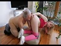 Blonde teen and grandpa