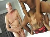 Rich old man and bodyguards enjoy foursome sex