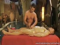 When he goes in for his massage the male masseuse oils him up and jerks him off