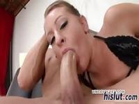 Curvy Lizzy bounces on a meaty member