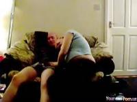 Blonde Chubby Milf Has Sex On The Sofa WIth Her Husband