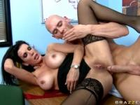 Beauteous busty MILF Shay Sights in blowjob video in office