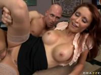 Dazzling redhead Monique Alexander is making a best blowjob of my life in office